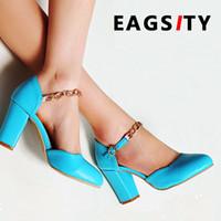 seks engellemek toptan satış-Blok topuk kadın sandalet ayak bileği askı zinciri yuvarlak ayak parti dans kare topuk seks bayanlar ayakkabı pompaları