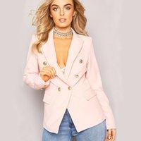 seksi iş kadın moda toptan satış-Saf Renk Bayanlar İş Blazers Moda Tasarımcısı Yaka Boyun Kadın Düğmesi ile Seksi Kadın Giyim Suits