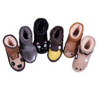 çocuk ayakkabıları markaları toptan satış-2020 Kids Snow Boots Christmas Winter Shoes Genuine Leather Boots Dog Duck Cat Shark Children Footwear Kids Shoes Designer Brand