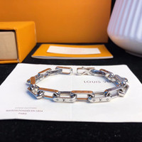 Wholesale connected jewelry resale online - Hot sale Top brand punk bracelet with hollow chain connect and logo for women and man wedding gift jewelry drop Shipping PS8243
