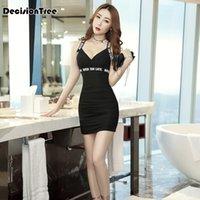 ko großhandel-2019 chinesisches Kleid qipao sexy modernes Verbandkleid sexy Frauen mit V-Ausschnitt bodycon Isolationsschlauchbügel vestidos sexys Nachtclub