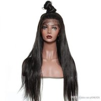 Wholesale chinese net laces resale online - Remy Hair Indian Lace Front Human Hair Wigs for Women Hair Straight Wig with Natural Hairline Full End wig net