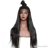 perruques indiennes de cheveux pleins de dentelle achat en gros de-Remy Hair Indian Lace Front Perruques de cheveux humains pour femmes cheveux perruque droite avec Hairline naturel Full End + perruque net