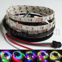 led bande individuelle achat en gros de-5V WS2812B 5050 RVB LED Ruban Flexible Bande Lumière Bande S Plier Sertissez librement 2M 120LEDs Magie Adressable Individuelle 8mm Largeur 60LEDs / m