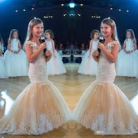Wholesale day dresses for plus sizes for sale - 2019 Mermaid Girls Pageant Dresses for Teens Plus Size White Lace Appliques Champagne Tulle Flower Girl Dress Formal Kids Prom Party Gowns