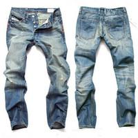 açık mavi denim kot pantolon toptan satış-Moda Erkekler Jeans Erkek İnce Günlük Pantolon Elastik Pantolon Erkek İçin Açık Mavi Fit Gevşek Pamuk Denim Markası Jeans