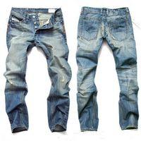ingrosso jean s uomini di marca-Moda Uomo Jeans Mens pantaloni sottili elastici Pantaloni blu taglio largo in cotone denim jeans di marca di luce per Maschio