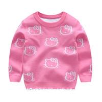 hola suéteres al por mayor-De punto ropa de bebé de dibujos animados Hello Kitty Casual niña del suéter del invierno del otoño el suéter