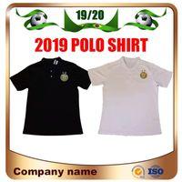polo de cuello blanco al por mayor-2 estrellas Argelia Polo de fútbol Jersey de fútbol Copa Africana 2019 Argelia POLO negro Entrenamiento Blanco Cuello alto Fútbol POLO