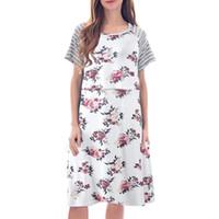 ingrosso infermiera breve vestito dalla donna-Abiti di maternità Estate manica corta tasca floreale infermieristica abito allattamento gravidanza abiti vestiti per le donne incinte