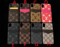 Wholesale iphone flip up card resale online - Card flip up phone case for iPhone X XR XS MAX case stitching leather brand design for iPhone plus plus plus