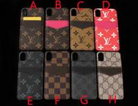 iphone flip up card achat en gros de-Étui pour téléphone avec carte rabattable pour iPhone X XR XS MAX, étui à couture avec logo en cuir pour iPhone 6 6plus 7 7plus 8 8plus