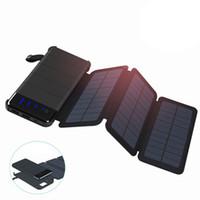 bateria externa célula solar venda por atacado-Carregador solar 20000 mah banco de energia solar à prova d 'água bateria externa pacote de backup para celular tablet comprimidos para iphone cor aleatória