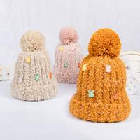 erkek topu kapakları toptan satış-Çocuklar Yün Şapka Sevimli Karikatür Moda kasketleri Çocuk Kış Örme Şapka Kız Erkek Termal Cap Ponpon Topu GGA2643 Caps Isınma