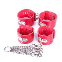манжета оптовых-Унисекс кожаные наручники наручники наручники кандалы ножной браслет собака рабы устройства БДСМ наборы ролевые игры инструменты секс-игрушки 0239