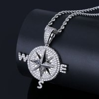 Wholesale men compass pendant necklace resale online - 201909 Fashion Compass Pendant Ice Out Chain Necklace Gold Silver Plated Punk Charm Necklaces Men Women Hip Hop Jewelry Birthday Gift M631F