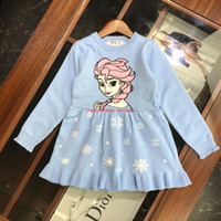 Wholesale european kids clothing sizes resale online - Girls dress kids designer clothing autumn new sweater dress cartoon princess and snowflake design dress size