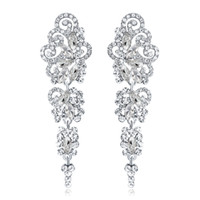 Wholesale accessories resale online - New Bridal Earrings with Crystals Rhinestones Water Drop Earring Bridal Jewelry Findings Wedding Accessories For Brides BW