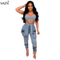 vintage frauen taillengürtel großhandel-VAZN Sommer 2019 neue Frauen Casual Fashion Taschen hohe Taille Tasten der Gürtel Persönlichkeit Blue Jeans lange Hosen ME255