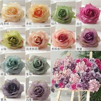 Wholesale red oil paint resale online - 10 cm Artificial Oil Painting Rose Head for Wedding Party Car Decoration Flower Wall Ball DIY Accessories