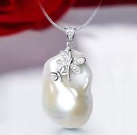 collier de perles baroques 925 achat en gros de-Argent Sterling 925 Style Baroque Fleur Pendentif Perle Collier 20-36mm Blanc Perle Bijoux Pour Les Femmes Classique 2019new Arrvial J190613