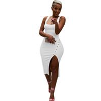 katı elbise düğmeleri toptan satış-Katı Düzensiz Seksi Bodycon Parti Elbise Yelek Sapanlar Düğme Pesonality Ortak Moda Stil İlkbahar Yaz Elbiseler