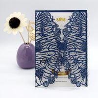 ücretsiz yazdırılabilir dantel davetiyeleri toptan satış-Ücretsiz Baskı Lazer Kesim Düğün Davetiyeleri 50 setleri Mavi Yazdırılabilir Boş Dantel Düğün Davetiyesi Kartları Zarf Sticker ile