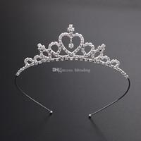 elmas taç çocukları toptan satış-Çocuklar Kadınlar Kızlar Firkete Prenses Taç Gümüş Kristal Rhinestone Saç Hoop Takı Elmas Tiara Kafa Saç Aksesuarları C6291