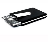 ingrosso scatole di biglietti da visita nere-Portafoglio porta carte di credito di qualità nera marca impermeabile tasca porta soldi contanti in alluminio uomini d'affari carta d'identità titolare portafogli regalo GB184