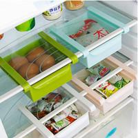 kühlschrankboxen großhandel-Kunststoffregale Küche Kühlschrank Lagerregal Kühlschrank Gefrierschrank Regalhalter Ausziehbare Schublade Organizer Raumwunder Aufbewahrungsbox Halter