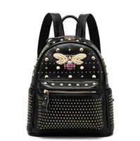 Wholesale fashion leather backpacks for girls for sale - Group buy 2019 new style backpack leather material for girls fashion style designer brand rivet bee travel high quality backpack Sac A Dos Femme