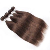 шоколадные бразильские человеческие волосы оптовых-KISSHAIR 4 Шт. Бразильские Прямые Пучки Волос Темный Шоколад Коричневый Реми Человеческих Волос Девы Перуанские Человеческие волосы