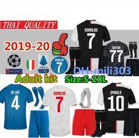 mejores camisetas al por mayor-Camiseta de fútbol de Juventus 2019 2020 DYBALA BERNARDESCHI MANDZUKIC D. Costa 18 19 20 RONALDO kit de camiseta de fútbol