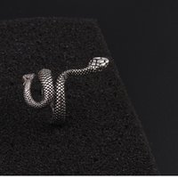 Wholesale stainless steel rings snake resale online - Retro Punk Unisex Stainless Steel Gothic Ring black Cobra Ring Creative Simplicity Snake Ring Nightclub style