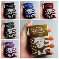boîte pour couvercle à rabat achat en gros de-Trump Metal Gold Cigarette Box Président américain Cas en aluminium Flip Cover Case Laser boîtes de rangement Party Favor AAA1514
