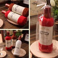 Wholesale towel textiles resale online - Creative Wine Bottle Shape Towel Gift Present Soft Cotton Face Towel Gift Home Textile Wedding cm
