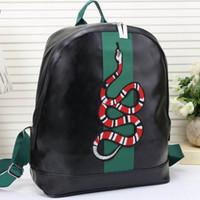 Wholesale men male backpack resale online - Fashion Snake Backpack Leather Zippers Classic Bee Men Women Bags Brand Designer for Male Female Luxury Backpacks g581 Black Blue Brown