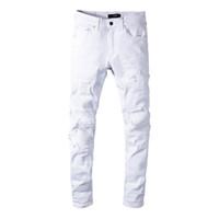 erkek beyaz kopmuş kot toptan satış-Klasik MIRI Toptan Beyaz pantolon 350 kot tasarımcı pantolon düz biker skinny loophole kot erkek kadın kot yırtık