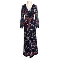 châle africain achat en gros de-Les femmes en soie de mode de vente chaude longue robe de haute qualité elegantV - le col ouvert châle femmes robes 2019 robes africaines pour