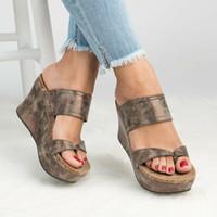 zapatilla plataforma mujer punta abierta al por mayor-VTOTA Chancletas Mujer Zapatillas Plataforma Zapatos de verano sandalias feminina Cuñas de punta abierta Sandalias Negro Zapatos de mujer más el tamaño 43