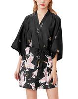 ingrosso abiti donna pigiama-Womens Kimono Robe Accappatoio Sposa Vestaglia Signore Ragazze Raso Party Camicia da notte Pigiama Lingerie Estate con cintura 9 Colori