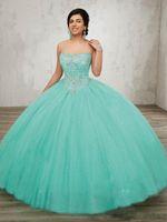 vestidos de quinceañera turquesa tule venda por atacado-New Strapless Turquesa vestido De Baile Vestidos Princesa Quinceanera 2019 Tulle vestidos de 15 anos debutante Sweety Prom Party Vestidos