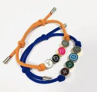 pulseiras de marca sorte venda por atacado-Cores de monograma Homens congelados Aço inoxidável Marca L Mulheres pulseiras de corda de miçangas da sorte strass Miami cadeia cubana hip hop V string bracelet