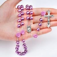 ingrosso collana di rosario dei branelli di vetro-Moda vintage Gesù Cristo Inspirational Croce Donne Collana di perle Perle di vetro Perle Rosario 8mm Rose Croce Collana 6 colori M466A