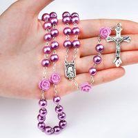 vintage halskette kreuzt perlen großhandel-Vintage Mode Jesus Christus Inspirational Kreuz Frauen Perlenkette Glasperlen Rosenkranz 8mm Rose Kreuz Halskette 6 Farben M466A