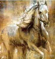 Wholesale white horses painting art for sale - Group buy Handpainted HD Art Print Modern Abstract Animal Art Oil Painting white horse On Canvas Home Decor Wall Art Multi size a02