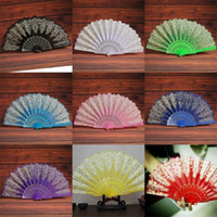 Wholesale different colors flowers resale online - Pp Dance Fans Gold Stamping Fashion Flowers Folding Fan Small And Exquisite High Quality And Inexpensive With Different Colors kf J1
