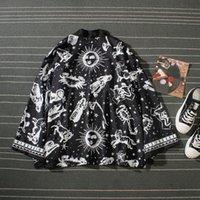 kimono ceketler artı boyutu toptan satış-Japon Harajuku Kimono Hırka Erkekler Siyah Plaj Kimono Hırka Erkekler Artı Boyutu Uzun Kimono Ceket Erkekler Yaz Sıcak Satış