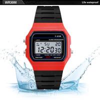 силиконовые электронные спортивные наручные часы оптовых-Silicone Watchband Men watches Waterproof LED Digital  Army Sport Analog Wrist Watch Mens Electronic watch Clock Relogio