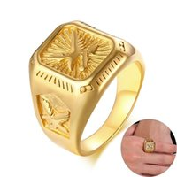 Wholesale mens stainless steel eagle ring resale online - fashion Mens Eagle Ring Gold Tone Stainless Steel Square Top with Rays Signet Ring Heavy Animal Band